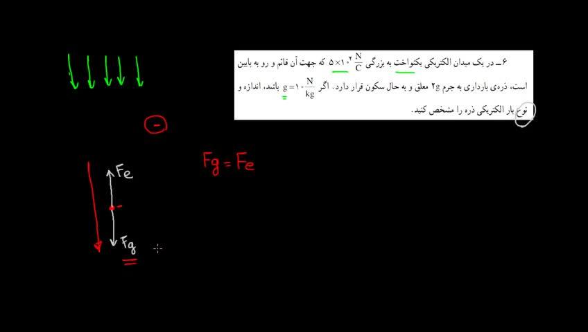 آموزش فیزیک 3 و آزمایشگاه دبیرستان - جلسه 5 - مثالی از اثر همزمان میدان الکتریکی و گرانشی بر بار