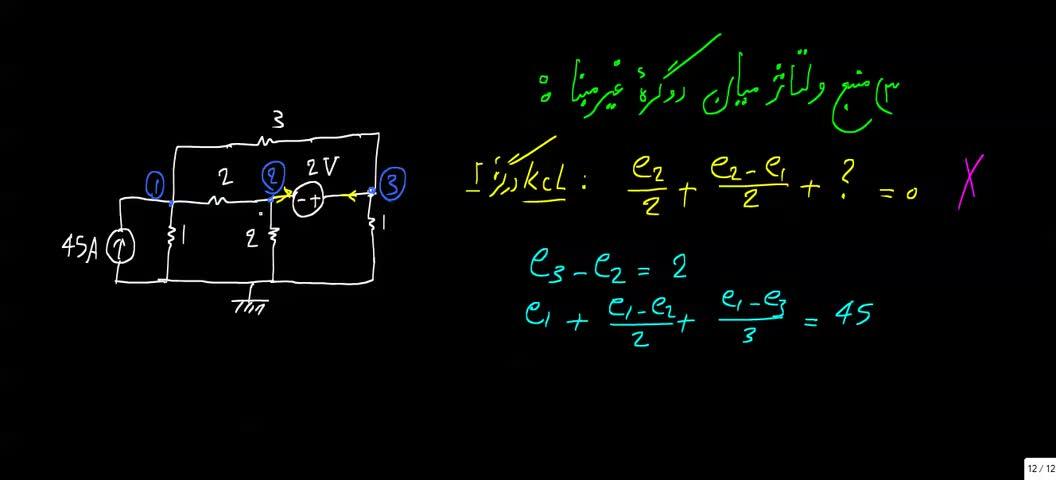 مدارهای الکتریکی ۱ - جلسه 21 - حالات خاص در تحلیل گره 3