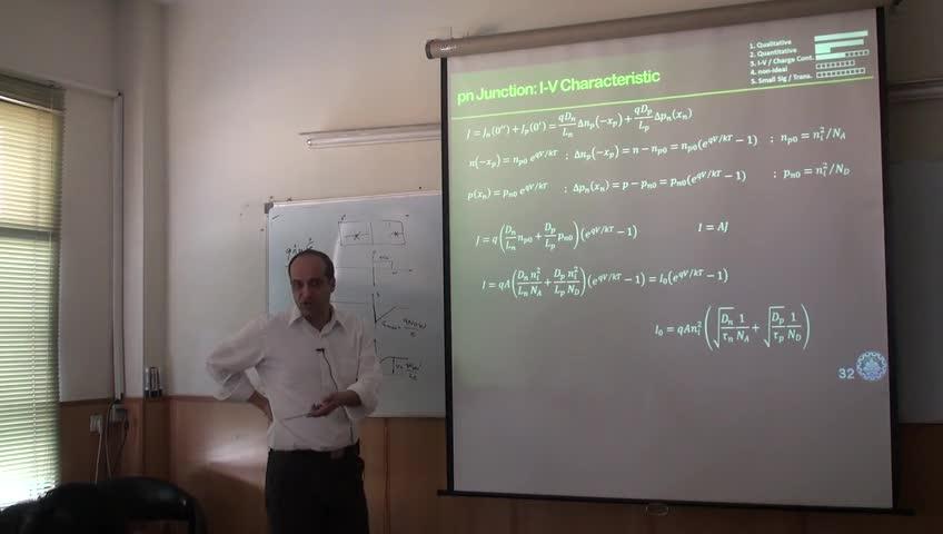 اصول ادوات حالت جامد - جلسه پانزدهم - روابط کمی I-V دیود ایدهآل، معادلهی کنترل بار