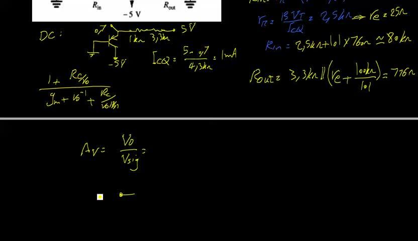 الکترونیک ۲ - جلسه 7 - حل تمرین از تقویت کننده یک طبقه