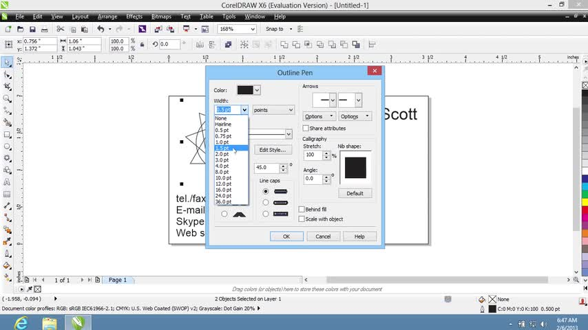 تخته سفید | How to Create Business Cards in CorelDraw