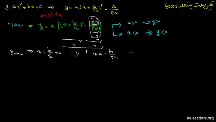 آموزش ریاضیات 2 دبیرستان - جلسه 7 - تعیین علامت چندجملهای درجه دو 3