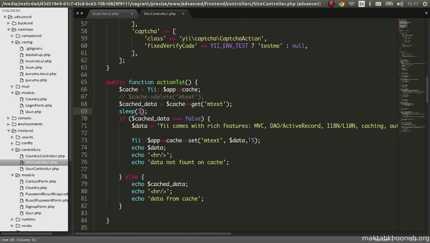 آموزش yii framework 2 - جلسه  109- cache functions