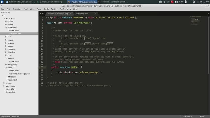 طراحی وب Codeigniter - جلسه دوم - مقدمات استفاه از codeigniter
