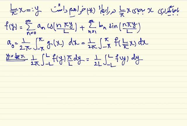 ریاضی مهندسی - جلسه سوم - قضیه نمایش با سری فوریه