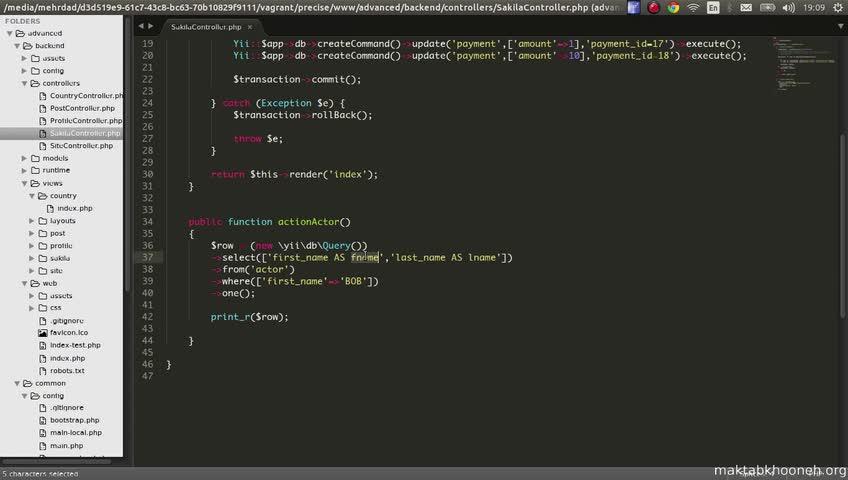 آموزش yii framework 2 - جلسه  39- query builder