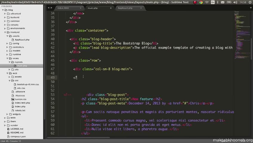 آموزش yii framework 2 - جلسه  73- layouts frontend