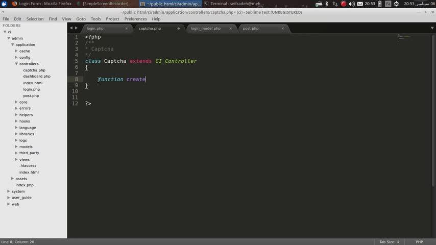 طراحی وب Codeigniter - جلسه بیست و دوم - استفاده از captcha