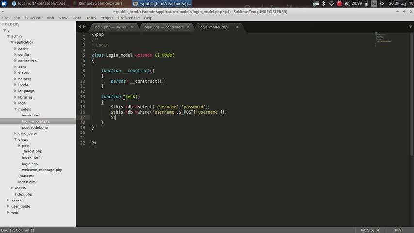 طراحی وب Codeigniter - جلسه دهم - بررسی درست بودن username و password