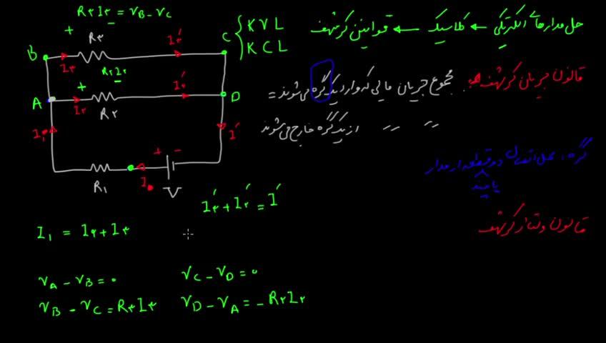آموزش فیزیک 3 و آزمایشگاه دبیرستان - جلسه 25 - قوانین جریان و گره کیرشهف