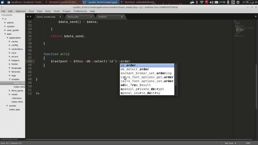 طراحی وب Codeigniter - جلسه نوزدهم - نوشتن query جدید