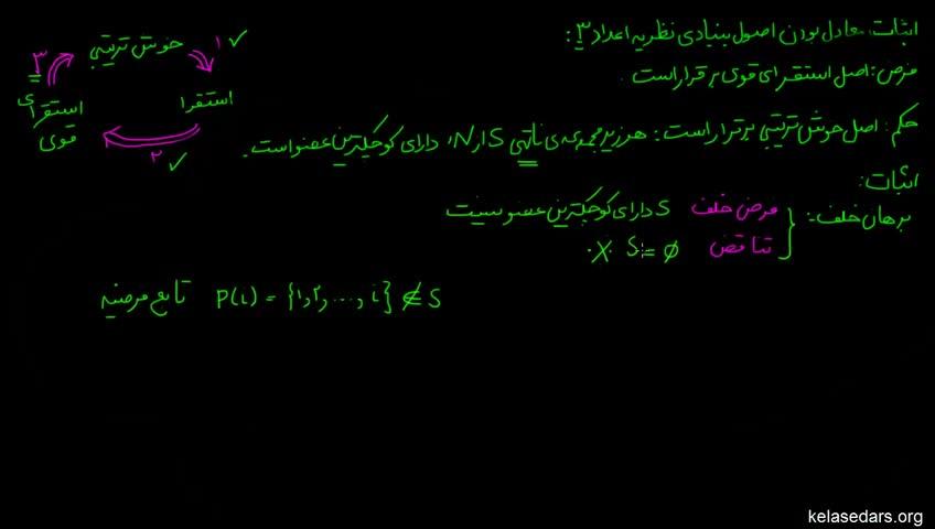 آموزش ریاضیات گسسته دبیرستان - جلسه 19 - اثبات معادل بودن اصول بنیادی نظریه اعداد 3