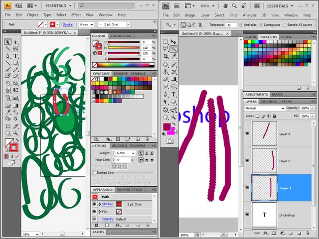 آموزش فتوشاپ (Photoshop) - جلسه 20 -آشنایی و مقایسه مقدماتی قسمتهایی از فتوشاپ و ایلوستریتور