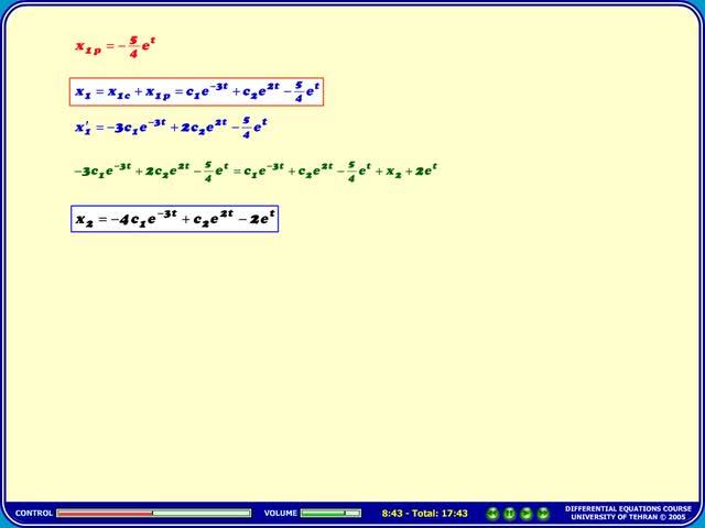 معادلات دیفرانسیل - جلسه 46 - معادلات دیفرانسیل - حل دستگاه