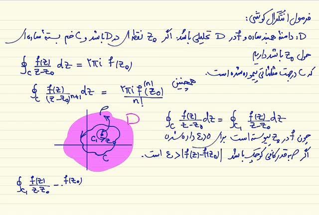 ریاضی مهندسی - جلسه نوزدهم- فرمول انتگرال کوشی