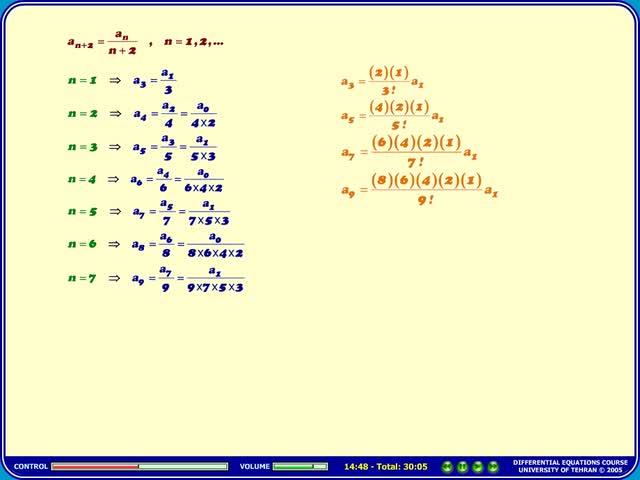 معادلات دیفرانسیل - جلسه 28 - معادلات دیفرانسیل - سری ها