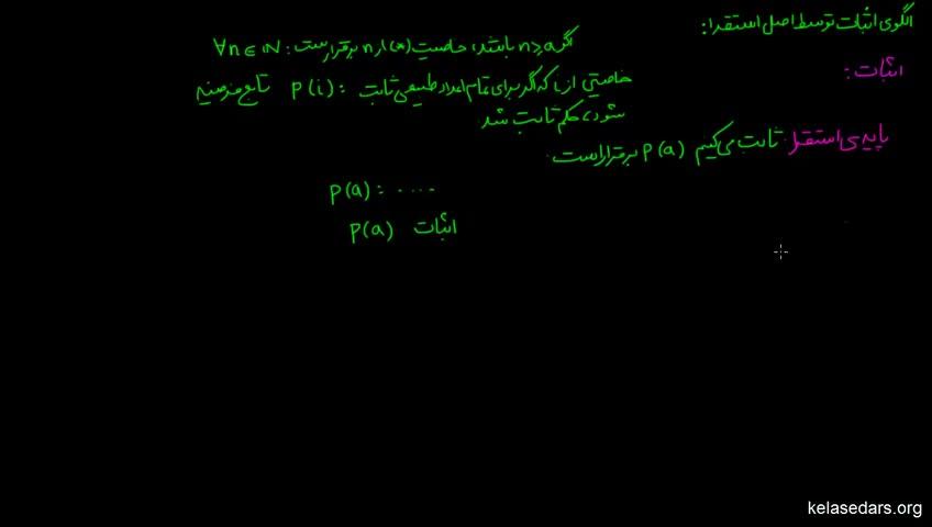آموزش ریاضیات گسسته دبیرستان - جلسه 20 - الگوی اثبات توسط اصل استقرا