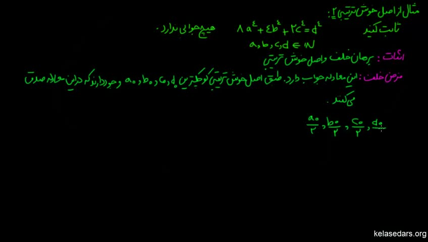 آموزش ریاضیات گسسته دبیرستان - جلسه 25 - مثال از اصل خوش ترتیبی 1