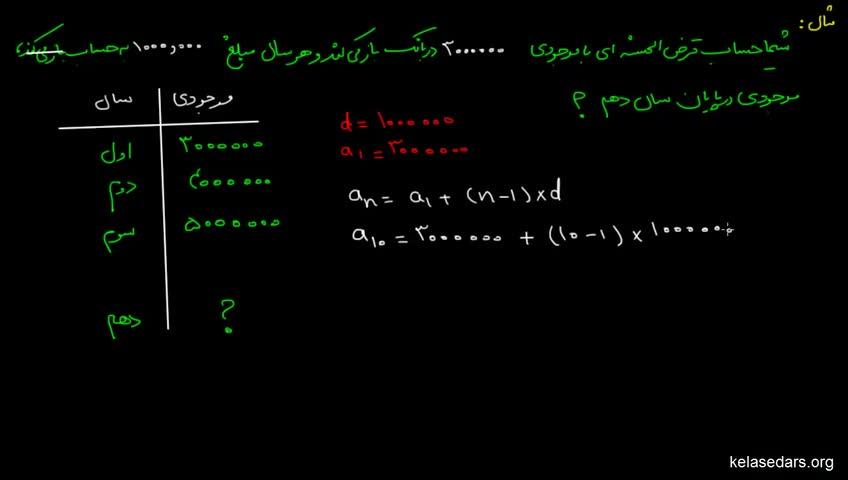 آموزش ریاضیات 2 دبیرستان - جلسه 16 - مثال از مجموع جملات تصاعد حسابی 2