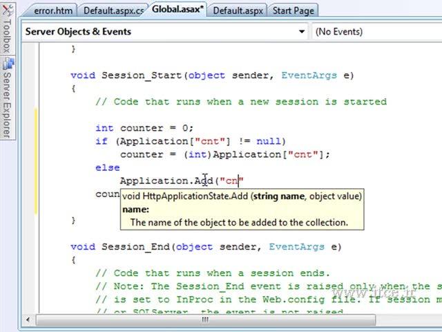 آموزش ASP.net - مبحث - Golbal Application - ASAX - Part 2